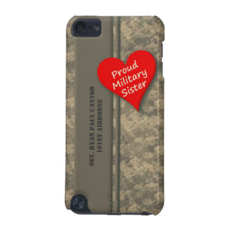 Personalized Proud Military Sister Camouflage iPod Touch (5th Generation) Case