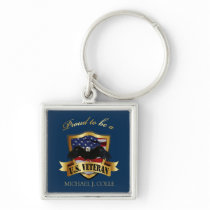 Personalized Proud to be a U.S. Veteran Keychain