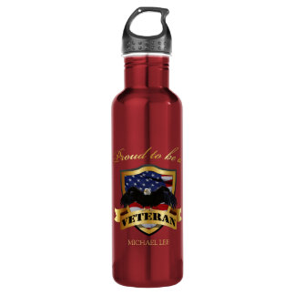 """Personalized """"proud to be a Veteran"""" 24oz Water Bottle"""