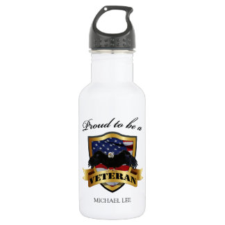 """Personalized """"proud to be a Veteran"""" 18oz Water Bottle"""