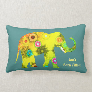 Personalized Psychedelic Floral Elephant Lumbar Pillow