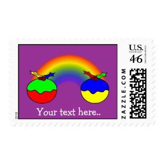 Personalized Puddings For Christmas And Rainbow Postage Stamp
