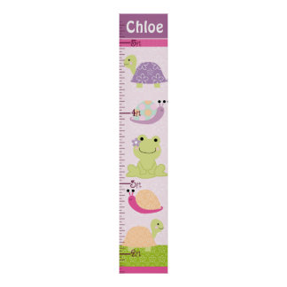 Personalized Puddle Turtle/Frog/Snail Growth Chart Poster