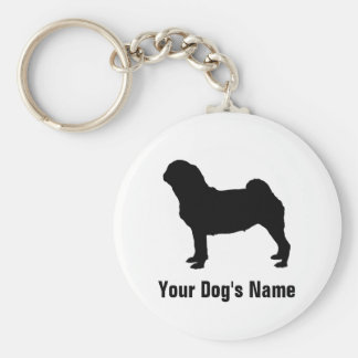 Personalized Pug パグ Basic Round Button Keychain