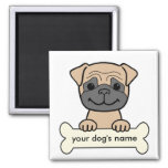 Personalized Pug 2 Inch Square Magnet