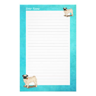 Personalized Pug and Roses Stationery