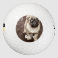 Personalized Pug Dog Photo and Your Pug Dog Name Golf Balls
