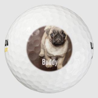 Personalized Pug Dog Photo and Your Pug Dog Name Golf Balls