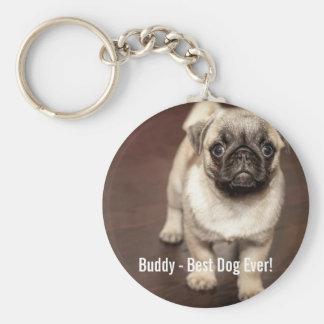 Personalized Pug Dog Photo and Your Pug Dog Name Keychain