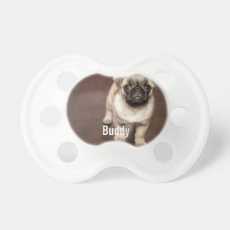 Personalized Pug Dog Photo and Your Pug Dog Name Pacifier