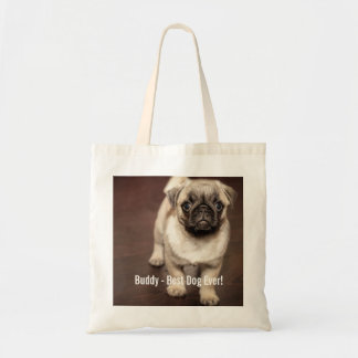 Personalized Pug Dog Photo and Your Pug Dog Name Tote Bag