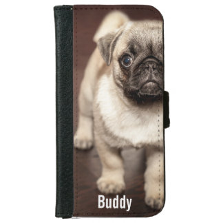 Personalized Pug Dog Photo and Your Pug Dog Name Wallet Phone Case For iPhone 6/6s