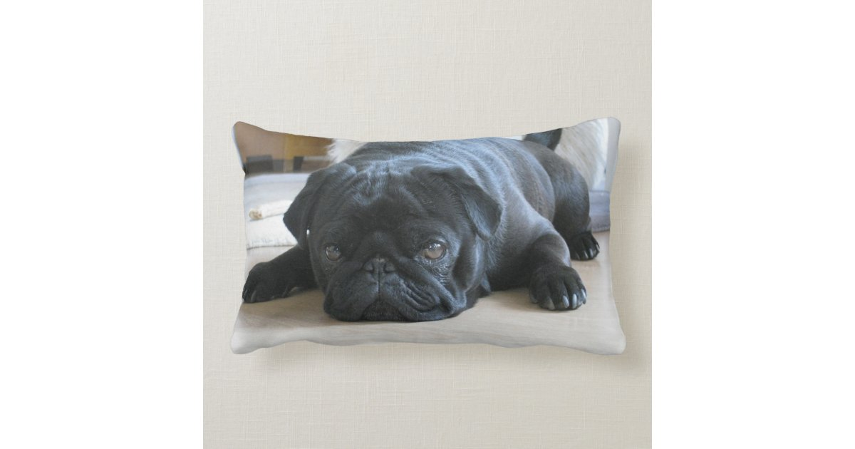 Personalized Pug Pillow Black Pug Puppy Cute Lumbar