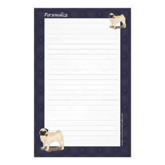 Personalized Pugs Roses Hearts Lined Stationery
