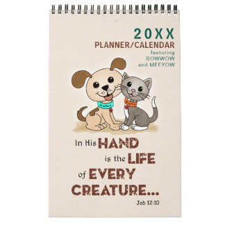 PERSONALIZED Puppy Dog Kitty Cat Pet Lover Planner Calendar