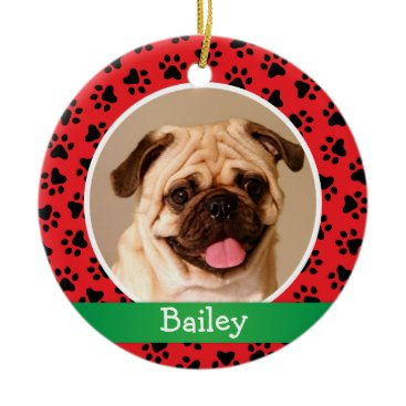 Christmas Themed Personalized Puppy Dog Pet Photo Ornament