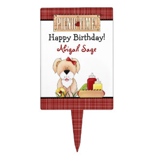 Personalized Puppy Dog Picnic Birthday Cake Topper