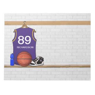 Personalized Purp Basketball Jersey 11x8.5 notepad