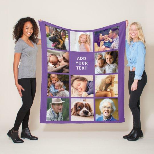 Personalized Purple 11 Photo Collage Fleece Blanket