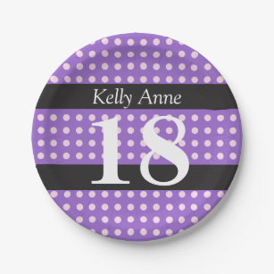 Personalized Purple 18th Birthday Pink Polka Dots Paper Plate  sc 1 st  Zazzle & Pink And Purple Polka Dots Plates | Zazzle
