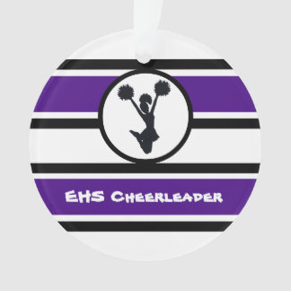 Personalized Purple and Black Cheerleader Ornament
