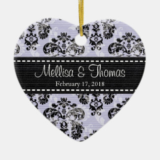Personalized Purple and Black Damask Wedding Favor Ornament