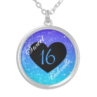 Personalized: Purple And Blue Sweet 16 Necklace