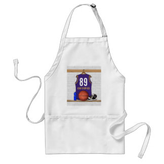 Personalized Purple and Gold Basketball Jersey Adult Apron