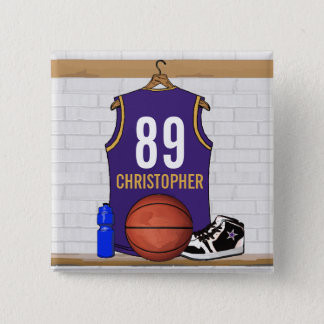 Personalized Purple and Gold Basketball Jersey Button