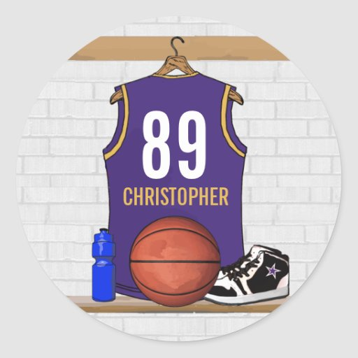 Personalized Purple and Gold Basketball Jersey Classic Round Sticker