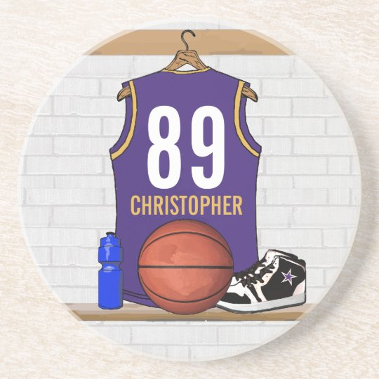 Personalized Purple and Gold Basketball Jersey Drink Coaster