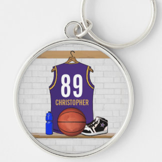 Personalized Purple and Gold Basketball Jersey Keychain
