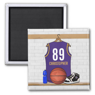 Personalized Purple and Gold Basketball Jersey Fridge Magnet