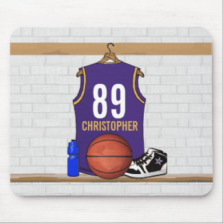 Personalized Purple and Gold Basketball Jersey Mouse Pad