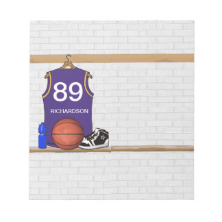 Personalized Purple and Gold Basketball Jersey Notepad