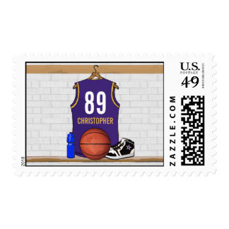 Personalized Purple and Gold Basketball Jersey Postage