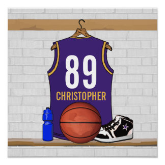 Personalized Purple and Gold Basketball Jersey Poster