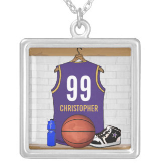 Personalized Purple and Gold Basketball Jersey Silver Plated Necklace