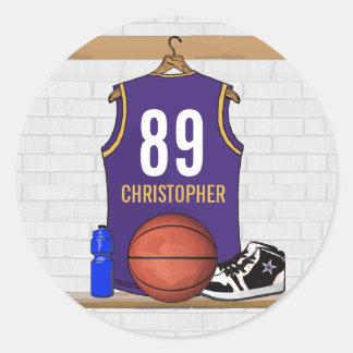 Personalized Purple and Gold Basketball Jersey Round Sticker