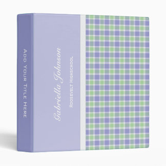 Personalized:  Purple and Green Plaid Binder