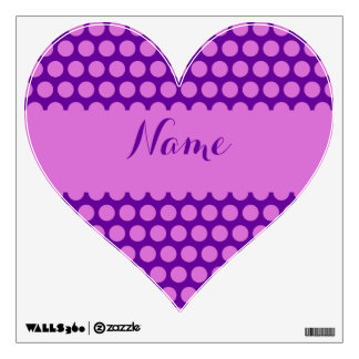 Personalized Purple and Orchid Polka Dot Heart Wall Decal