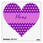 Personalized Purple and Orchid Polka Dot Heart Wall Skins