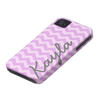 Personalized Purple and Pink Girly Chevron Pattern Case-Mate iPhone 4 Case