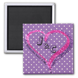 Personalized Purple and Pink Heart Magnet
