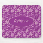 Personalized Purple and plum colored Floral patter Mouse Pad
