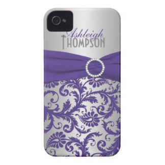 Personalized Purple and Silver Damask iPhone 4 Case-Mate Cases