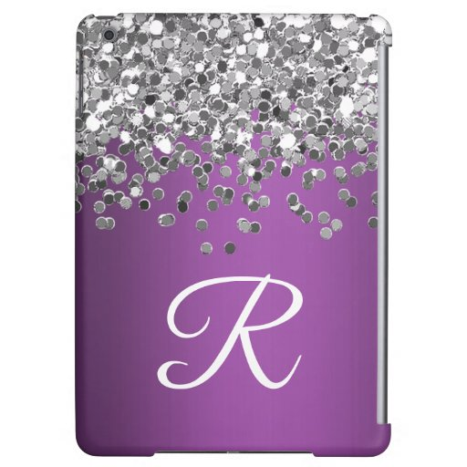Personalized Purple and Silver Glitter Monogram Case For iPad Air