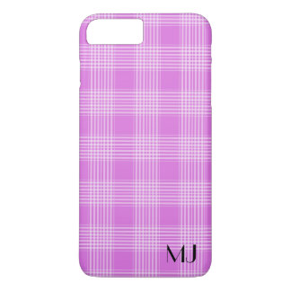 Personalized Purple and White Plaid Tartan Pattern iPhone 7 Plus Case