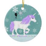 Personalized Purple and White Unicorn and Fairy Ceramic Ornament