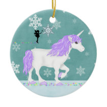 Personalized Purple and White Unicorn and Fairy Ceramic Ornament